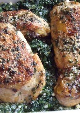 Pollo sobre lecho de espinacas con jengibre