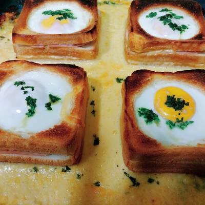 Montadito con huevo al horno