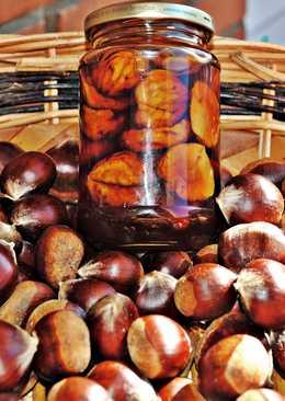 Castañas en almibar de Amaretto y Brandy