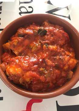 Pollo con Samfaina o pisto(según donde se llama de una manera u otra)