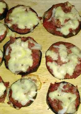 Mini pizzas de calabacín y berenjena