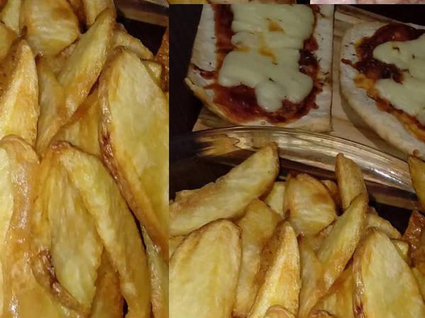 Papas rústicas con pizza casera