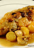 Conejo guisado con patatas en tres cocciones (cocina con garrote)