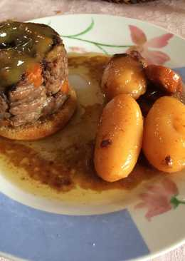 Rabo de toro relleno de foie con mostaza de naranja