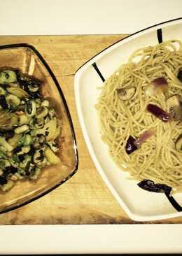 Pasta integral Pesto/setas 🍄 y habitas con morcilla