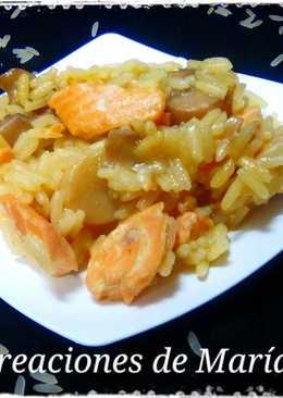 Risotto de salmón y champiñones, sin gluten