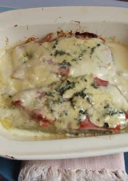Berenjena blanca horneada al queso roquefort