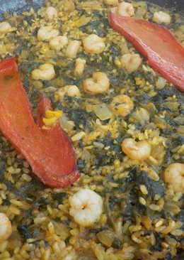 Paella al HORNO de espinacas y gamba pelada