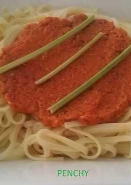 Spaguettis al pesto Rosso