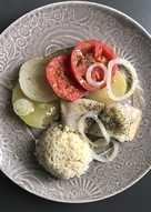 Cazuela de merluza al horno con tomate y arroz..y versión para peques