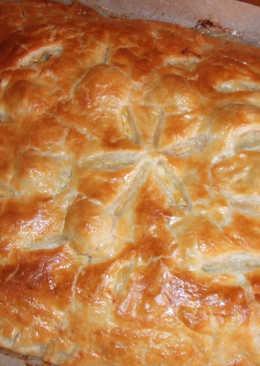 Pastel de hojaldre relleno de espinacas, pavo, mozzarella y restos de otros platos