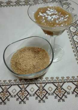 Compota crujiente de manzana sobre base de galleta con café 💚