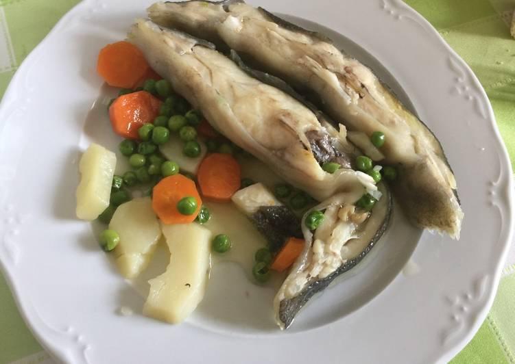 Rodaballo al vapor con verduras