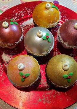 Cupcakes de esferas de Navidad