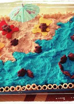 Tarta de galletas y chocolate veraniega