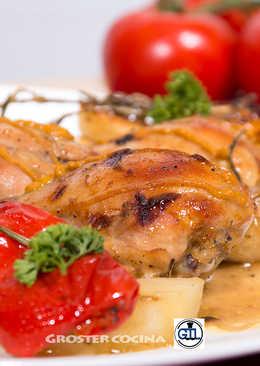 Pollo asado con mostaza y miel