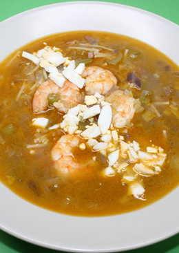 Sopa de langostinos y jamón