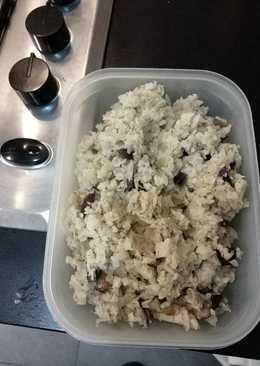Risotto de setas con arroz de coliflor