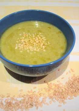 Crema de arroz integral con col rizado - vegano