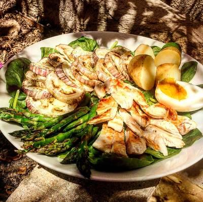 Ensalada templada de berenjena y pollo