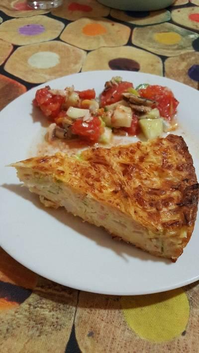 Pastel de calabacín y jamón cocido al horno con thermomix