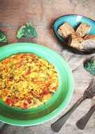 Tortilla de brócoli con pimiento morrón