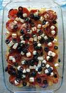Bulgur al horno, con tomate, aceitunas y queso feta