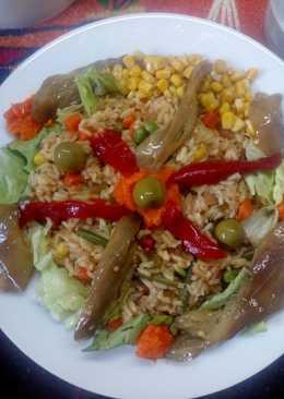 Arroz con vegetales y berenjenas