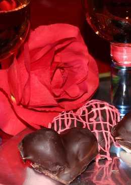 Corazones de fresas y chocolate