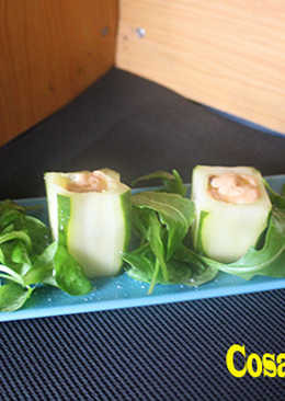 Vasitos de pepino con anchoas y mayonesa