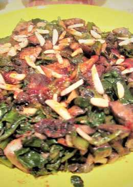 Champiñones silvestre con acelga y almendras - vegano