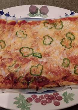 Pizza de hojaldre con verduras, mozzarella y 4 quesos