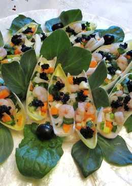 Endivias rellenas congambas y caviar