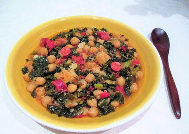 Guiso de col kale con garbanzos y chistorra al lim n - Cocinar col kale ...