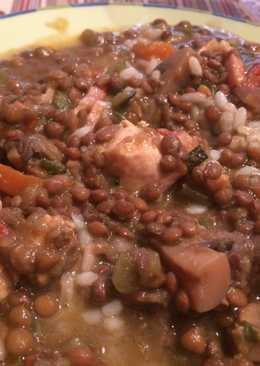 Lentejas con verdura, arroz y pollo