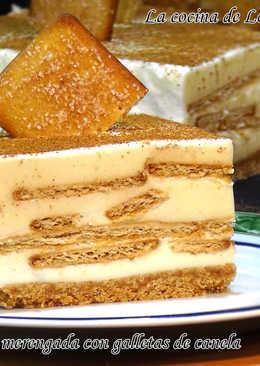 Tarta de leche merengada con galletas de canela, fácil y sin horno