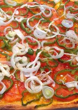 Pizza de pimiento y cebolla sin queso