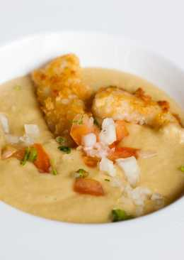 Bacalao rebozado con Panko con sopa de garbanzos y tahini- Receta de Chakall