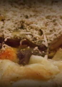 Tarta de acelga, espinaca y champiñones