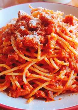 Espaguetis con longaniza fresca