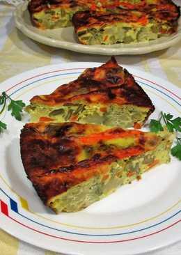 Pudín vegana de brócoli y judías verdes con queso mozzarella