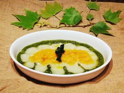 Crema de col kale con puré de calabaza y patata sin sofrito