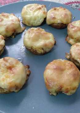 Champiñones rellenos de mascarpone y jamón