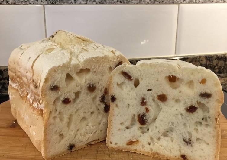 Pan de pasas sin gluten panificadora