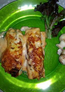 Canelones de espinacas, gambas y pescado