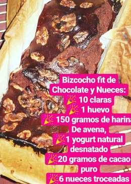 Bizcocho fitness de chocolate y nueces