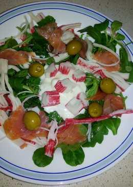 Ensalada de rúcula y salmón ahumado