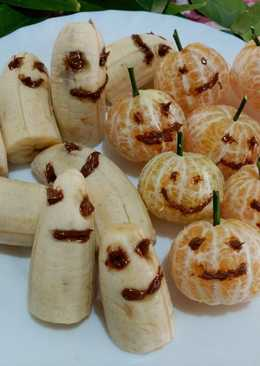 Fantasmas y calabazas (plátanos y mandarinas )