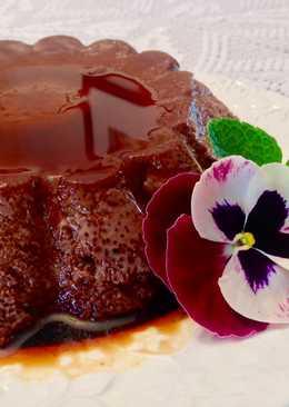 Flan casero de chocolate negro