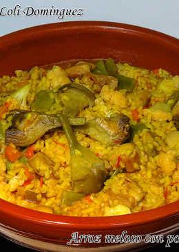Arroz meloso con pollo y verduras